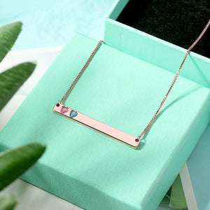 Personalized Heart and Round Birthstone Bar Necklace