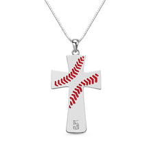 Load image into Gallery viewer, Engraved Baseball Line Cross Necklace in Silver