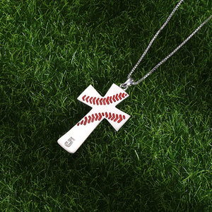 Engraved Baseball Line Cross Necklace in Silver