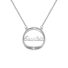 Load image into Gallery viewer, Personalized Shadow Heart Name Necklace in Silver