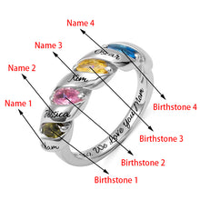 Load image into Gallery viewer, Engraved Mother's Twining Ring with 4 Horse Eye Birthstones