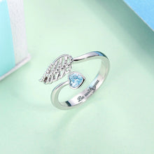 "Load image into Gallery viewer, Personalized ""Forever by My Side"" Angel Wing Ring Sterling Silver"