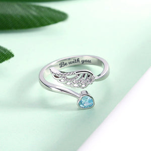 "Personalized ""Forever by My Side"" Angel Wing Ring Sterling Silver"
