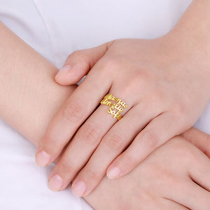 Personalized 3 Names Ring in Gold