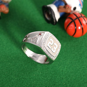 Engraved Basketball Signet Ring with Birthstone