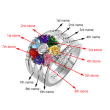 Load image into Gallery viewer, Personalized 7 Heart Birthstone Ring in Sterling Silver