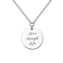 "Load image into Gallery viewer, ""God is greater than the highs and lows"" Engraved Coin Necklace in Silver"