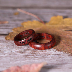 Engraved Pterocarpus Ring