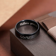 "Load image into Gallery viewer, Engraved ""God is greater than the highs and lows"" Ring in Black"