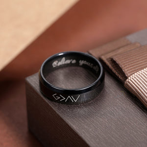 "Engraved ""God is greater than the highs and lows"" Ring in Black"