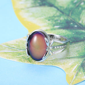 Personalized Color Changing Mood Ring in Silver