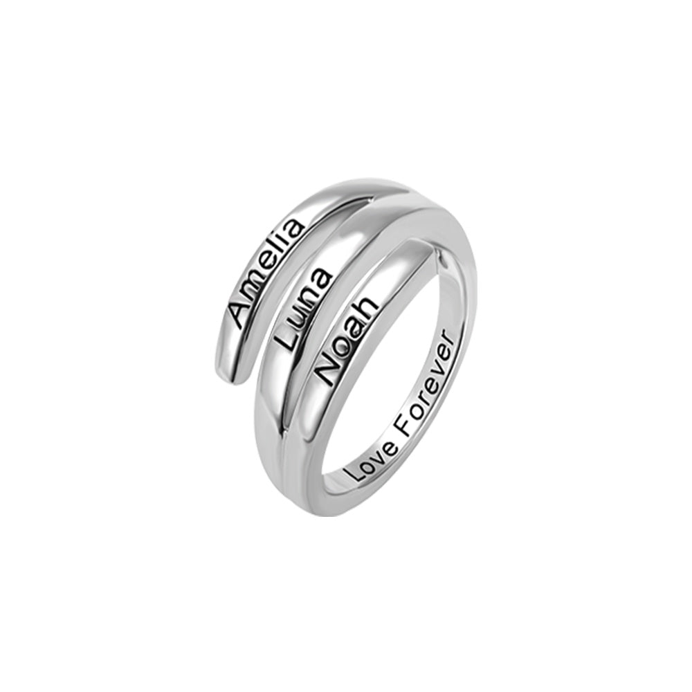 Personalized 3 Names Sunbird Ring in Silver
