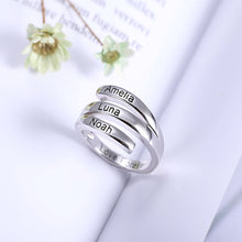 Load image into Gallery viewer, Personalized 3 Names Sunbird Ring in Silver