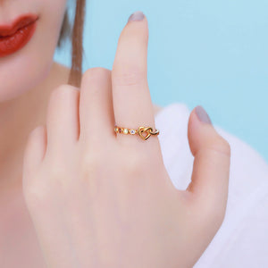 Personalized Birthstone Heart Ring in Gold