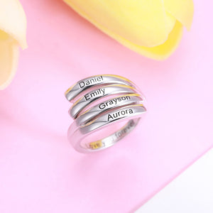 Personalized 4 Names Sunbird Ring in Silver