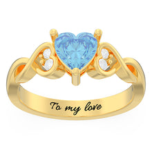 Load image into Gallery viewer, Engraved Heart Stone Infinity Promise Ring