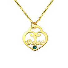 Load image into Gallery viewer, Personalized Heart Lock Birthstone Name Necklace