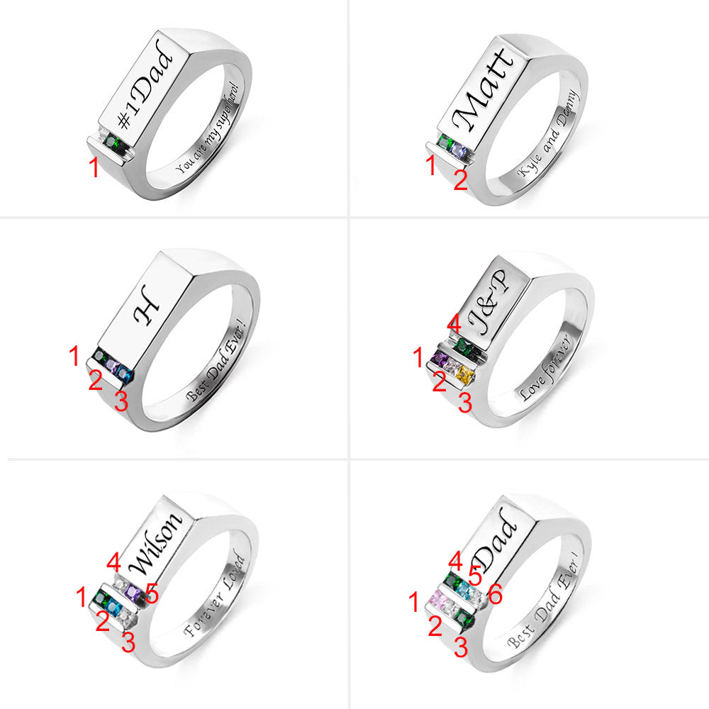 Personalized Men's Ring Birthstone Family Ring