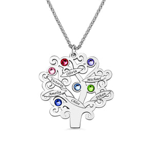 Family Tree Necklace with Birthstones Up to 6 Names
