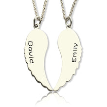 Load image into Gallery viewer, Custom Cute His and Her Angel Wings Necklaces Set Silver