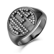 Load image into Gallery viewer, Personalized CZ Circle Monogram Ring Black plated