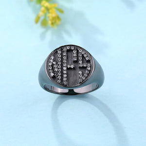Personalized CZ Circle Monogram Ring Black plated
