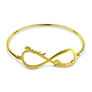 Custom Infinity 2 Names Bangle Sterling Silver