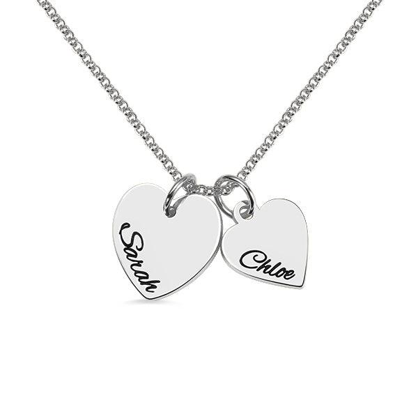 Personalized Double Hearts Charm Necklace
