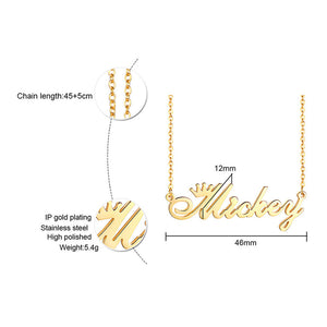 Cutstom Crown Name Necklace Stainless Steel Chokers for Women Temperament Party Wedding Jewelry