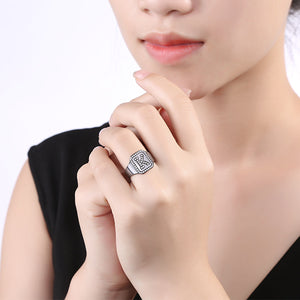 Personalized Black Plated CZ's Initial Ring In Sterling Silver