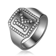 Load image into Gallery viewer, Personalized Black Plated CZ's Initial Ring In Sterling Silver