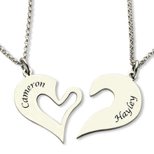 Load image into Gallery viewer, Personalized Breakable Heart Name Necklace for Couples Silver