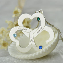Load image into Gallery viewer, Personalized Triple-Heart Shamrocks Necklace with Names