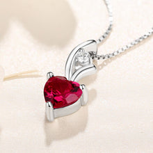 Load image into Gallery viewer, Personalized Heart Birthstone Necklace Sterling Silver