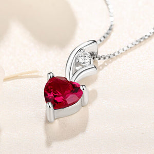 Personalized Heart Birthstone Necklace Sterling Silver