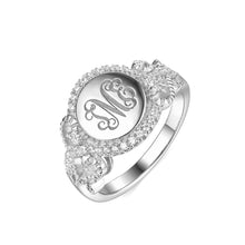 Load image into Gallery viewer, Personalized Round CZ Monogram Ring