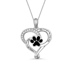 Customized Pet Paw Print Love Heart Necklace