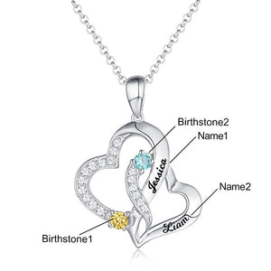 Personalized Double Heart Necklace with 2 Names & Birthstones Sterling Silver