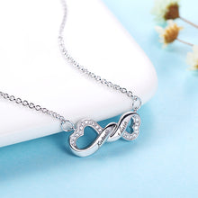Load image into Gallery viewer, Engraved Infinity Double Heart Name Necklace for Her