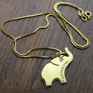 Elephant Lucky Charm Necklace Engraved Name 18k Gold Plated