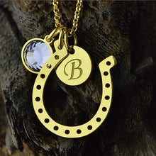 Load image into Gallery viewer, Birthstone Horseshoe Lucky Necklace with Initial Charm 18k Gold Plate