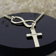 Load image into Gallery viewer, Classy Infinity Cross Name Necklace