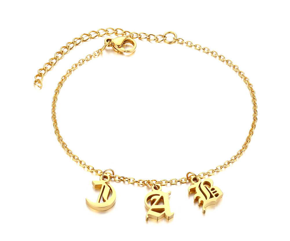 Custom A-Z Initial Charm Bracelets for Women Unique Personalize Name Charms Elegant Stainless Steel Jewelry 1-5 Letters Limited