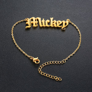 Old English Text MT Personalized Name Bracelets for Women Solid Stainless Steel in Gold Tone Customize Unique Wedding Gift Elegant BFF Bracelet