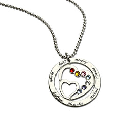 Load image into Gallery viewer, Grandmom's Gift: Heart in Heart Necklace with Kids Names