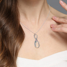 Load image into Gallery viewer, Birthstone Infinity Eternity Necklace Double Names Sterling Silver