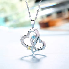 Load image into Gallery viewer, Personalized Double Heart Necklace with 2 Names & Birthstones Sterling Silver