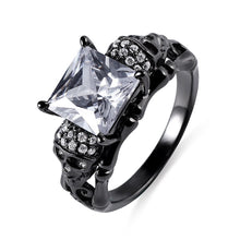 Load image into Gallery viewer, Skull Ring With Square Birthstones In Black Plated Silver