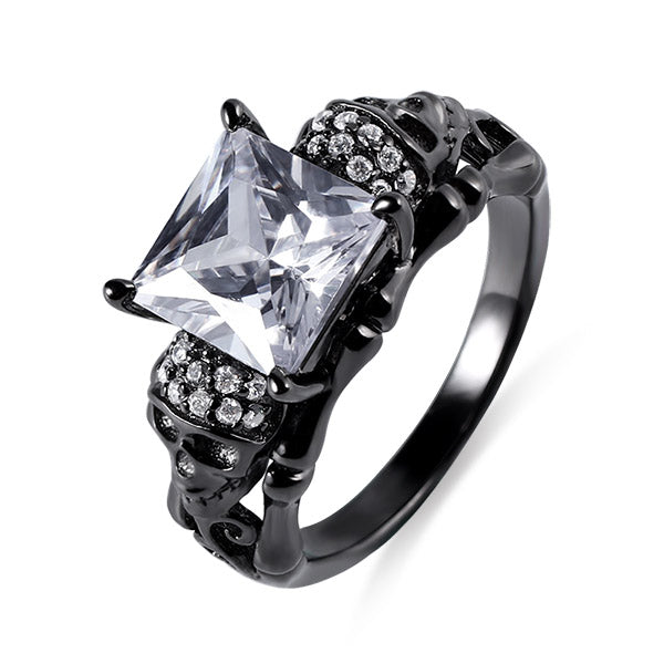 Skull Ring With Square Birthstones In Black Plated Silver
