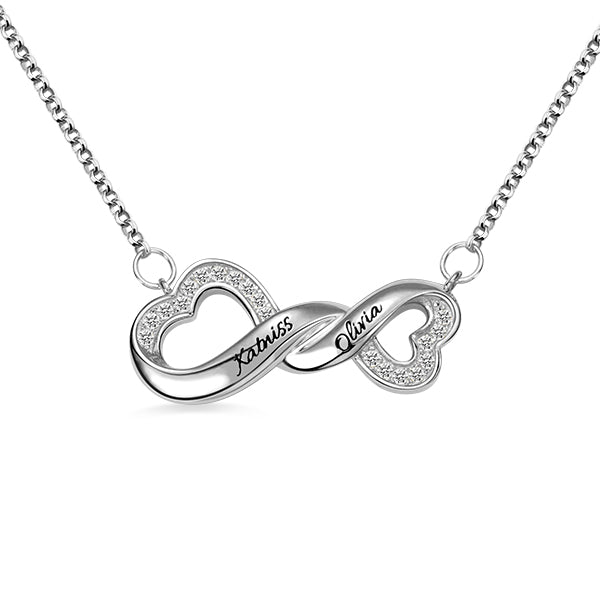 Engraved Infinity Double Heart Name Necklace for Her